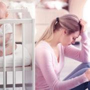 Mãe com bebê recém nascido no berço, apresentando sinais de depressão pós-parto